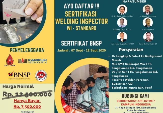 Sertifikasi Welding Inspector - WI Standard 2020